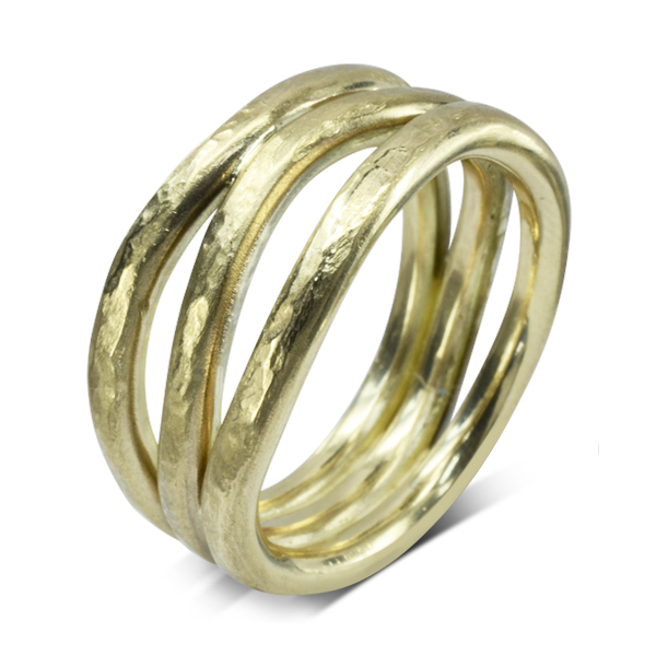 Upcycled Gold Rough Hammered Three Strand Ring
