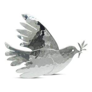 silver dove brooch with olive branch