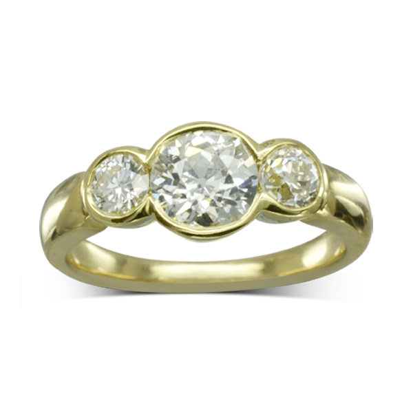 Recycled Old Cut Diamond Trilogy Ring