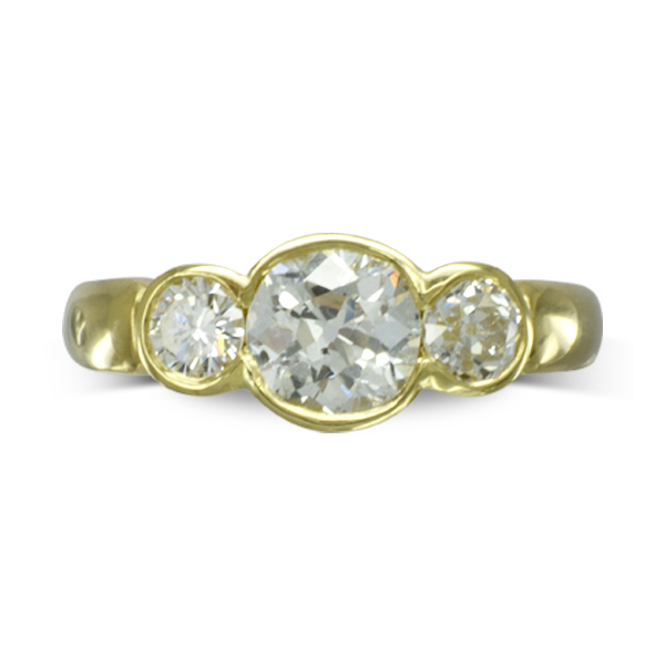 Recycled gold and Old Cut Diamond Trilogy Ring