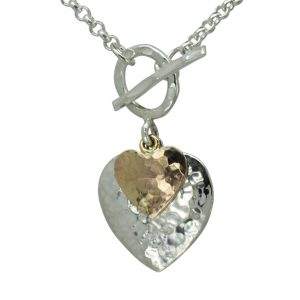 rose gold double heart pendant
