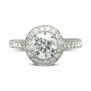 Heart Gallery Diamond Cluster Engagement Ring with Diamond Shank