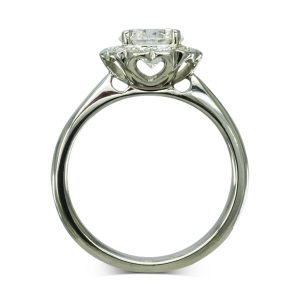 1ct Diamond Scalloped Cluster Engagement Ring With Hearts