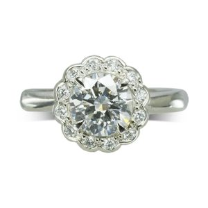 1ct Diamond scalloped Cluster Engagement Ring