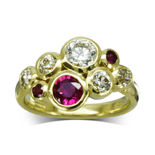 Bespoke Ruby Diamond Gold bubbles Cluster ring
