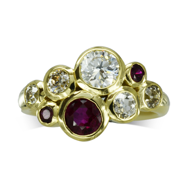 Unusual anniversary ring Ruby Diamond Gold bubbles Cluster ring