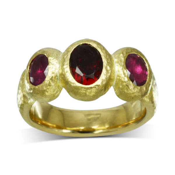 Ruby Gold Nugget Trilogy Ring