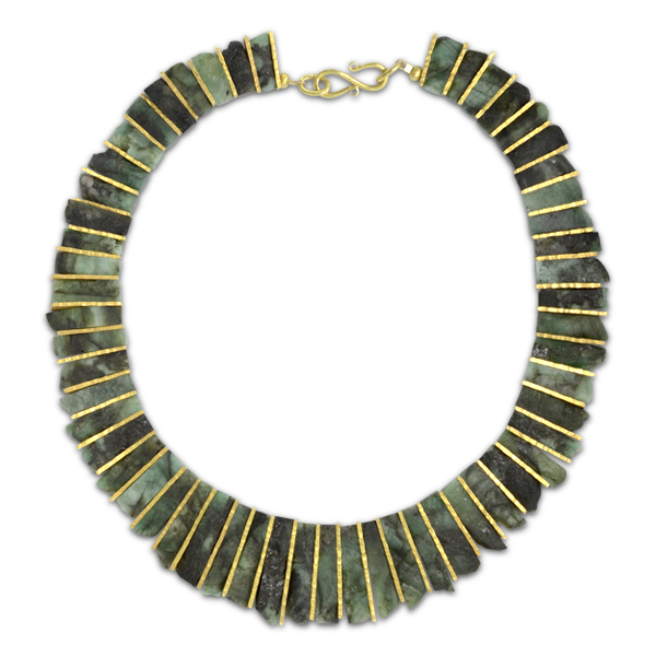 rough emerald necklace may birthstone