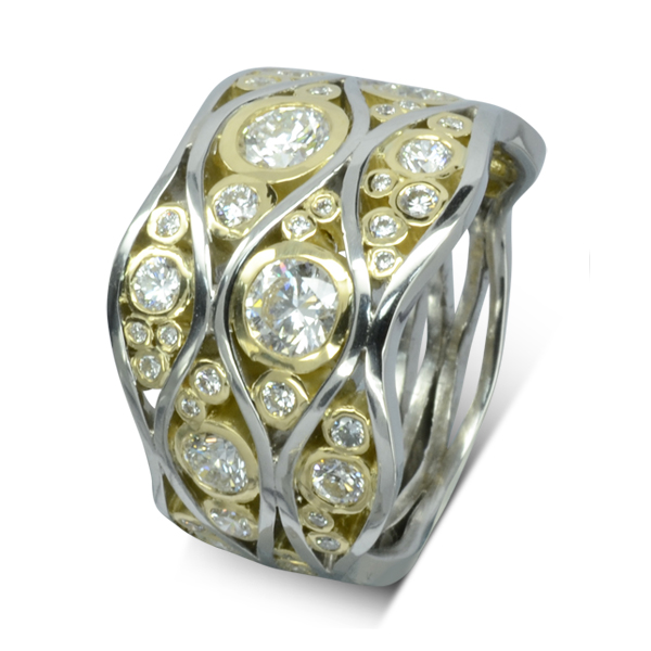 wide band rings with diamonds Large Bubbles Wave Eternity Ring