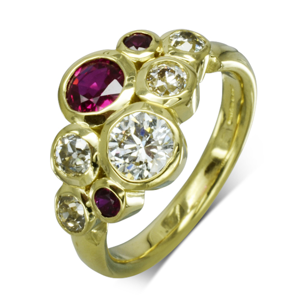 Ruby Diamond Gold bubbles Cluster ring