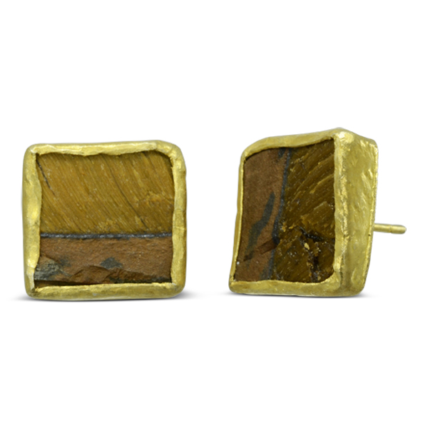 Tigers Eye Large Earstuds Square