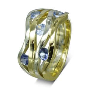 Two Colour Gold Sapphire wave ring