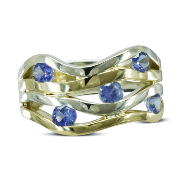 Handmade in sussex Two Colour Gold Sapphire wave ring