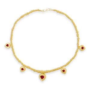 Hammered Ruby Heart Necklace