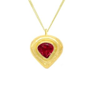 Hammered Heart Ruby Pendant