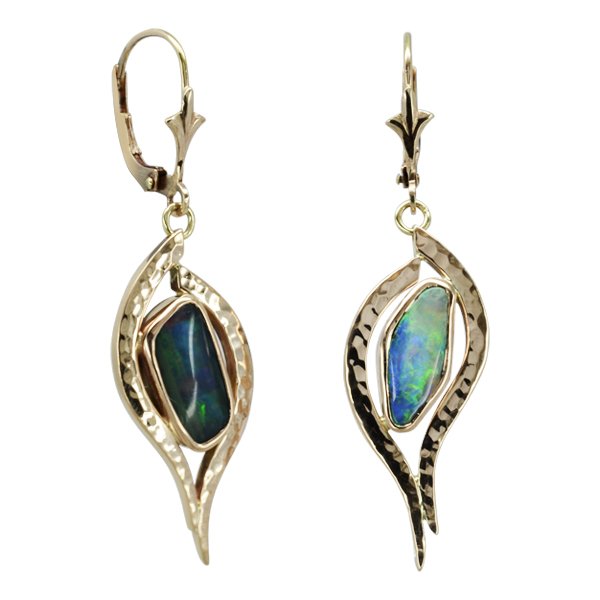 Opal Rose Gold Earrings Forged