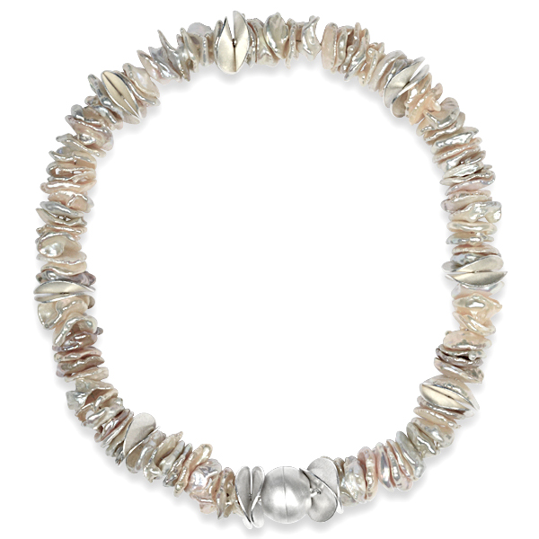 20mm champagne silver keshi pearl necklace
