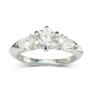 Diamond Engagement Ring With Pear Shaped Shoulders