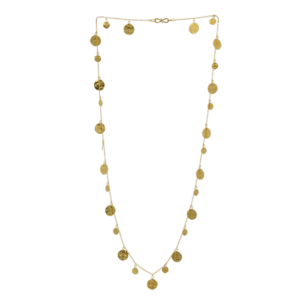 Disc gold opera necklace