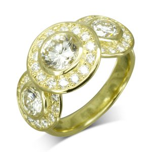 Gold Diamond Trilogy Cluster Ring