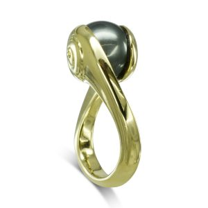 Gold Spiral Suspended Tahitian Pearl Ring