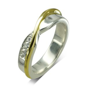 Offset Two Colour Diamond Set Crossover Ring