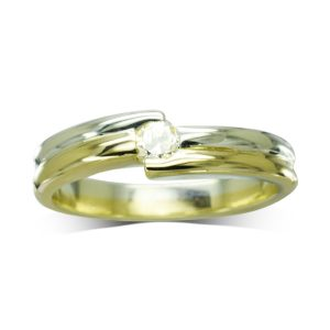 Offset Two colour gold Diamond engagement ring