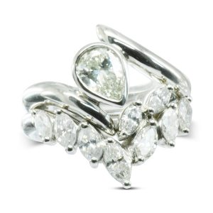 Pear Shaped Diamond Spiky Ring With Marquise Diamond Fitted Wedding Band