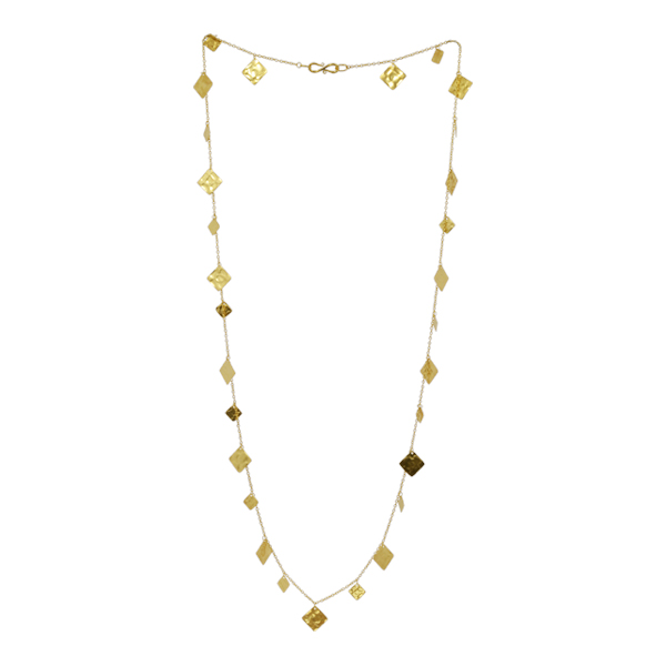 squares gold opera necklace