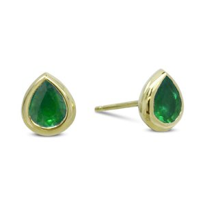 Gold Emerald Pear Shaped Earstuds