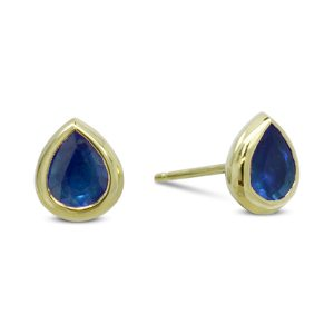 Gold Sapphire Pear Shaped Earstuds