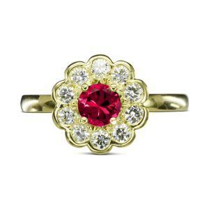 Ruby Diamond Gold Scalloped Cluster Ring