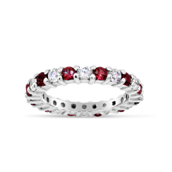 Ruby and Diamond Claw Set Eternity Ring