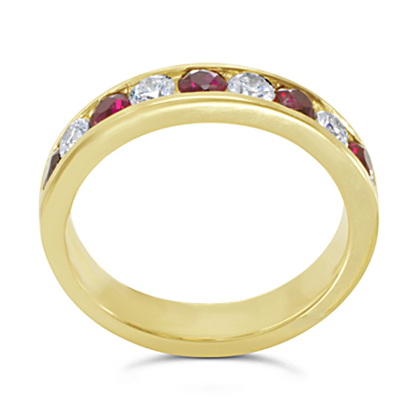 Ruby and Diamond channel set eternity ring