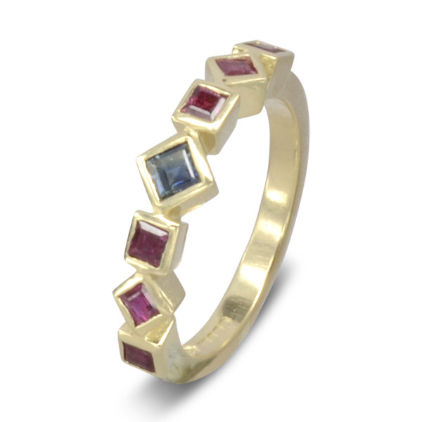 square emerald ruby eternity ring