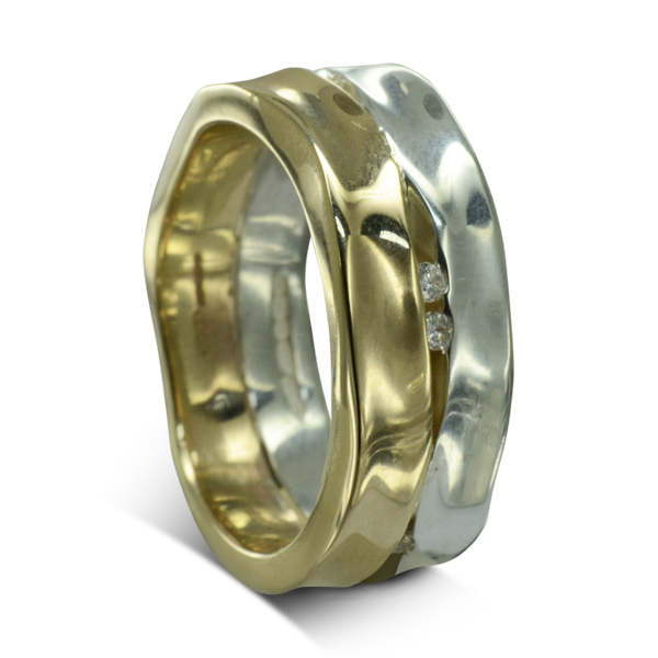 Wide Two Colour Gold Diamond Trap Eternity Ring