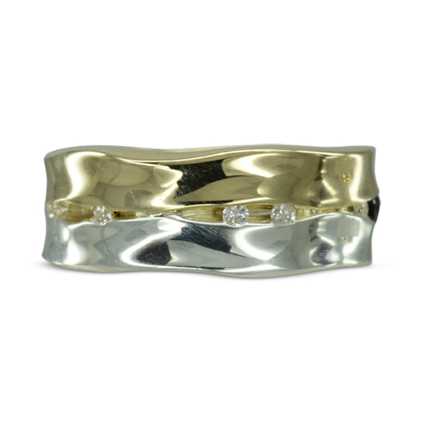 Wide Two Colour Recycled Gold Diamond Trap Eternity Ring