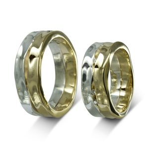 Wide Two Colour Gold Side Hammered Wedding Rings