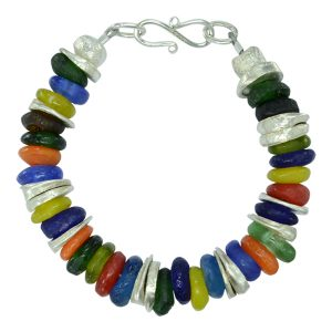 African Recycled Glass Bead Bracelet