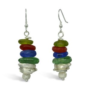 African Recycled glass bead earrings