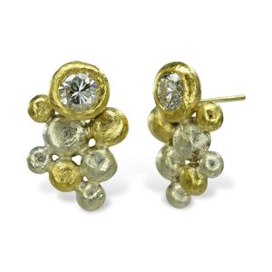 Diamond two colour gold Nugget Earstuds