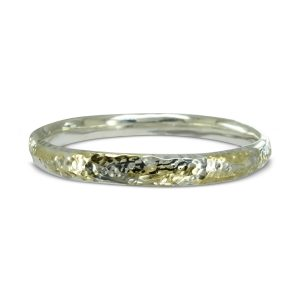 Hammered Gold Silver Oval Bangle