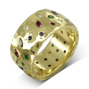 Wide Hammered gold sapphire emerald ruby diamond scatter ring